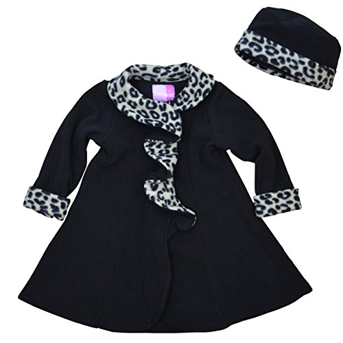 365ecbdb0 Good Lad Black Fleece Coat with Animal Fur Trim and Matching Hat ...
