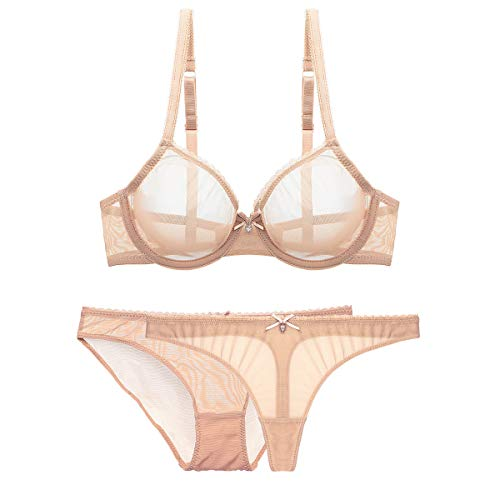 Women See-Through Lace Push Up Transparent Sheer Bras for Women (N279+N082, 34D, Beige add Thong) -