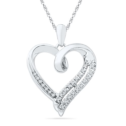 cd99dd068b949 Amazon.com  Sterling Silver Round Diamond in Heart Pendant (1 10 cttw)  Pendant  Necklaces  Jewelry