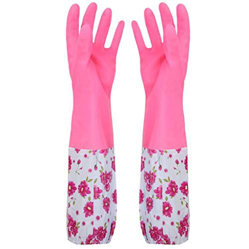 Islandse❤ Rubber Gloves Latex Free Kitchen Cleaning Gloves Household Waterproof Dishwashing Living Large (Pink) from Islandse_Home&Garden