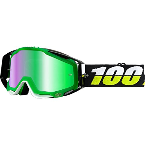100% unisex-adult Goggle (Green,Mirror Green,One Size) (RACECRAFT SilverMBAD/Mirror Lens - Sunglasses Surf Superstore