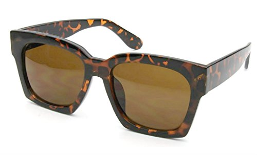WebDeals - Large Oversize Square Retro Fashion Men Women Eyewear Sunglasses (Brown Tortoise, - Brown Sunglasses Tortoise