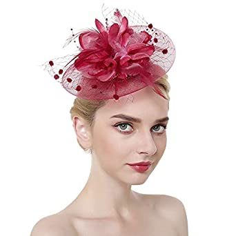 JINTN Womens Girls Mesh Fascinator Hat Headwear with Big Flowers Feather Veil Wedding Party Hat Fascinator Hair ClipHeadwear Kentucky Derby Hat Girls and Lady