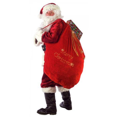 [ARAD Large Velvet Embroidered Merry Christmas Santa Present Sack…] (Weed Bag Costume)