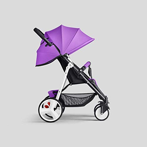 DXDZQ Lightweight Stroller with Safety System and Multi-Position Reclining Seat, Extended Canopy, Easy One Hand Fold, Large Storage Basket (Color : Purple)