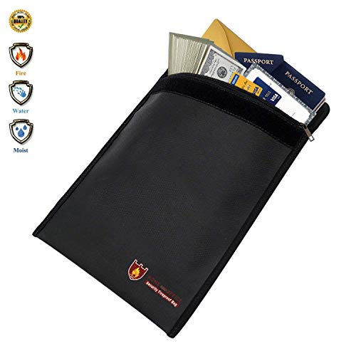 Fireproof Document Bag, Non-Itchy Silicone Coated Fire & Water Resistant Money Bag Fireproof Safe Storage for Money, Documents, Jewelry and Passport (15'' × 11'', Black) by Ray Ron