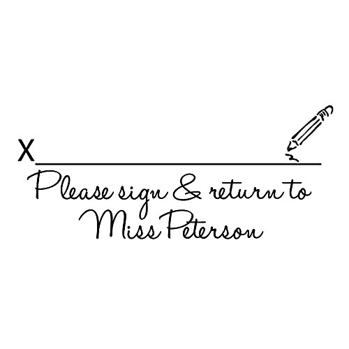 (Signature line Image Please Sign and Return Stamp Custom Teacher Name Stamp Praise Homework Education Reward School Book Personalized Name self Inking pre Ink Rubber Stamp)