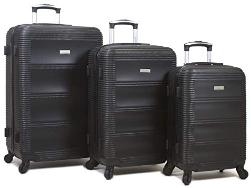 Dejuno 25DJ-801-BLACK Helix Hardside Spinner Luggage Set44; Black – 3 Piece
