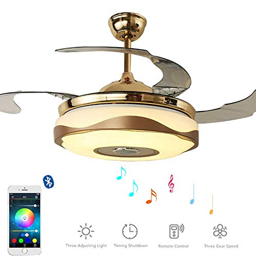 Morechange 36 Inch Bluetooth Ceiling Fan With Light And