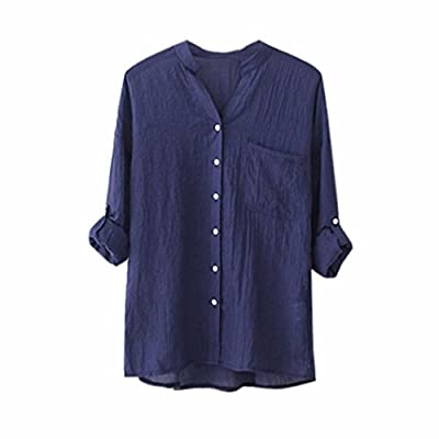 Women Cotton Casual Blouse Roll up 3/4 Sleeve Button Down Tops V Neck Tee Shirt for Daily Work Office