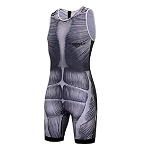 JPOJPO Cycling Jersey Mens Sleeveless Skinsuit Triathlon Swimsuit/Front Zip/Back Pocket