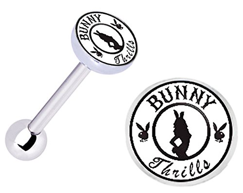 (Officially Licensed Bunny Thrills Playboy girl Stainless Steel Barbell Tongue Ring Body piercing Jewelry bar - 14g)