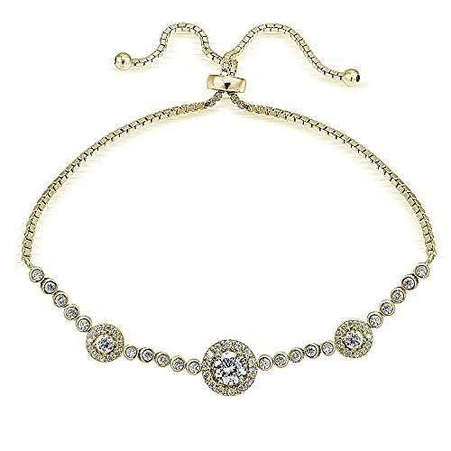 Hoops & Loops Yellow Gold Flash Sterling Silver CZ Cubic Zirconia Three Stone Halo Adjustable Bracelet ()