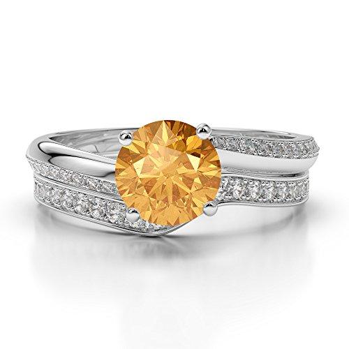 Or blanc 18carats 1CT G-H/VS sertie de diamants ronds Cut Citrine et mariée Bague de fiançailles et ensemble de Agdr-2017