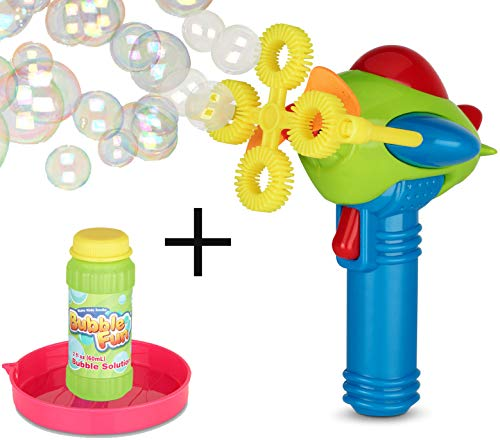 Bubble Gun Blower | Toy Blaster With Soap Solution | Electric, Futuristic Shooter w/ 4 Wands | Fun, Colorful, Indoor and Outdoor Safe | Leak-Resistant | Girls and Boys | w/ eBook