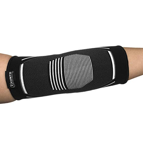 Kunto Fitness Elbow Brace Compression Support Sleeve for Tendonitis, Tennis Elbow, Golf Elbow Treatment - Reduce Joint Pain During Any Activity! (Large, White-Gray) by Kunto Fitness Products (Image #4)