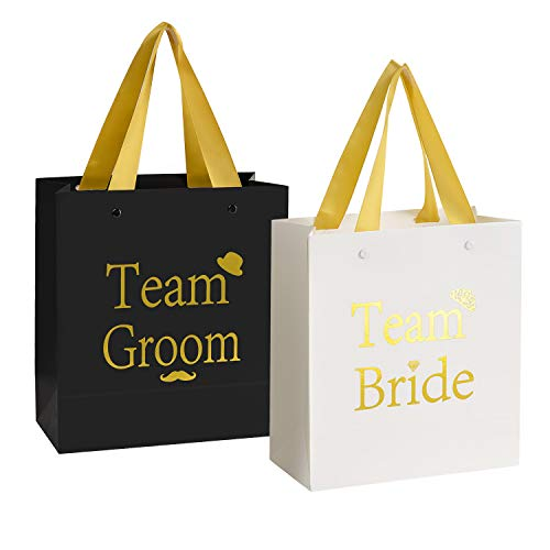 Crisky Team Bride Team Groom Gift Bags Birdesmaid Groomsman Bags Hangover Kit Photo Booth Props Kit Bag for Bachelorotte Bachelor Engagement Wedding Party Favors Gold Foiled Color, 6 Black & - Team Bags 8