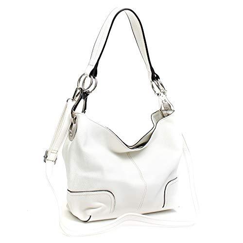 Americana Bucket Style Hobo Shoulder Bag with Big Snap Hook Hardware ()