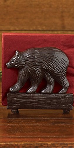 - Bear Napkin Holder Cast Burl Rustic Lodge Style- Park Designs