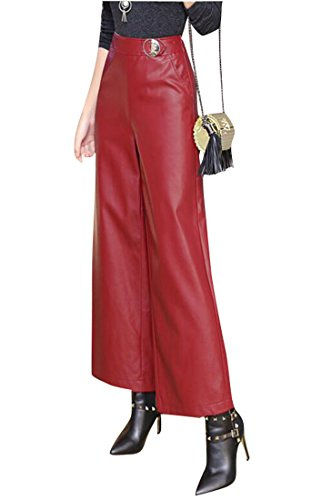 Oberora Womens Slim Fit High Waist Solid Wide Leg Faux PU Leather Culottes Pants Wine Red ()
