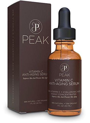 Bio Natural Blush (Vitamin C Serum with Hyaluronic Acid - Organic and Natural Ingredients – 20% Vitamin C Serum. 1oz, By Peak.)
