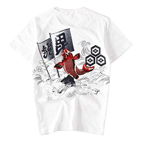 Men's T-Shirts Casual Short Sleeve Cotton Tee Summer Vintage Pattern Printed O-Neck T-Shirts Tops White