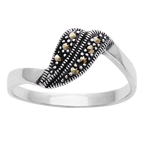 (Silverly Women's .925 Sterling Silver Simulated Marcasite Art Deco Style Swirl Ring )