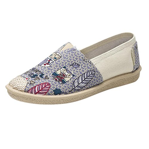 VEMOW Sandals for Women, Trainers Mary Janes Cute Lace-up Flats Flip Flops Thongs Espadrilles Wedge Running Walking Dance, Female Cartoon Print Slip On Casual Breathable Shoes Purple
