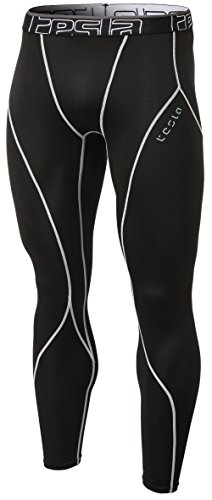TSLA Men's Thermal Wintergear Compression Baselayer Pants Leggings Tights, Thermal Core(yup33) - Black & Light Grey, -
