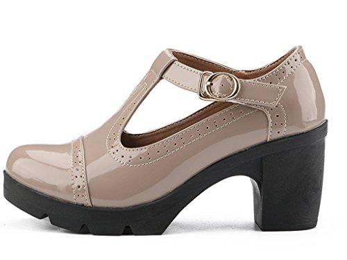 Dadawen Womens Classic T-strap Platform Tacco Medio Scarpe Oxford Con Punta Quadrata Albicocca