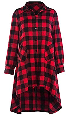 Generic Women's Long Sleeve V-Neck Loose Shirt Dress Plaid Flannel Checkered Shirt