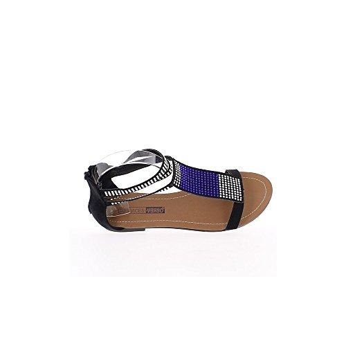 Sandali flat bicolore strass nero