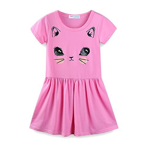 LittleSpring Little Girls Summer Dress Short Sleeve Casual Cotton Dress Kitten Print Pink Size 7 -