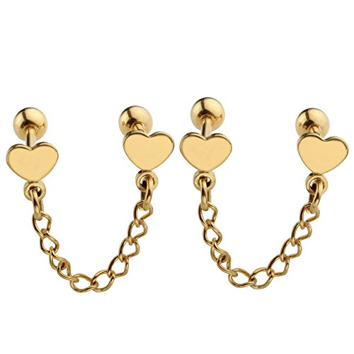 - JOVIVI 2pc Unisex Stainlss Steel Double Heart Tassel Chain Barbell Cartilage Helix Stud Earrings - Gold