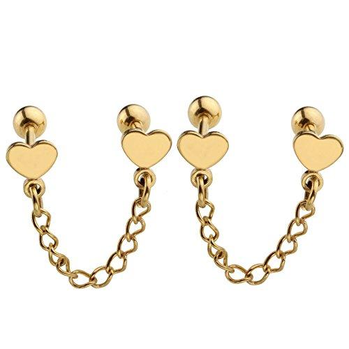 (JOVIVI 2pc Unisex Stainlss Steel Double Heart Tassel Chain Barbell Cartilage Helix Stud Earrings - Gold)