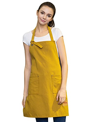 Vantoo Unisex Canvas Adjustable Cooking Apron for Men and Women with Pockets,Yellow (Easy Pinup Hair)
