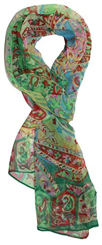Deco Floral Print - Ted and Jack - Pretty Chiffon Silk Blend Graphic Scarf (Dark Green Deco)