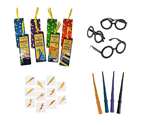 Harry Potter China - 108 Wizard Party Favors- 12 Plastic Wizard Wands, 12 Wizard Glasses, 12 Laminated Wizard's Academy Bookmarks and 72 Lightning Bolt Tattoos