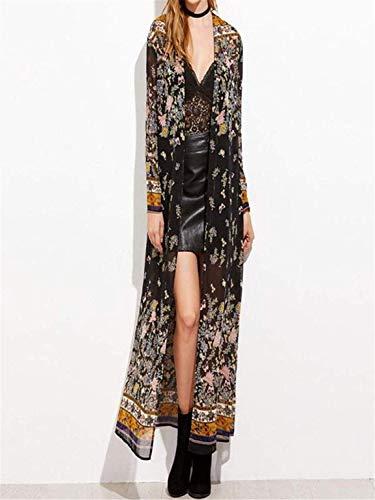 Capuche Manches Hauts Floral Femmes Automne Mode Dames Hiver Pardessus Party Rayé Taille coloré Print Noir Small Outwear Et Long Ensemble Kimono Noir À Longues Sweat xIYqT8Cw