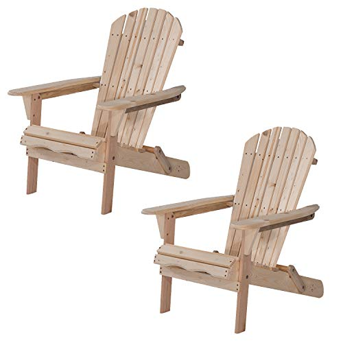 UHOM Outdoor Adirondack Wood Chair Foldable Patio Lawn Garden Furniture Set of 2