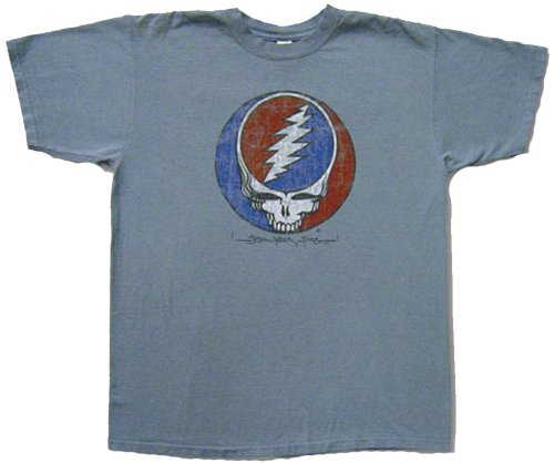 - A&E Designs Grateful Dead Steal Your Face Distressed (Worn Looking) T-Shirt (Small) Blue