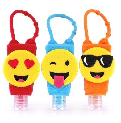 (Bac-Pac Buddies - Reusable Hand Sanitizer - Bundle Pack - Travel Size Scented Gel On-the-Go Bottles (1oz, 3 Pack, Emoticons))