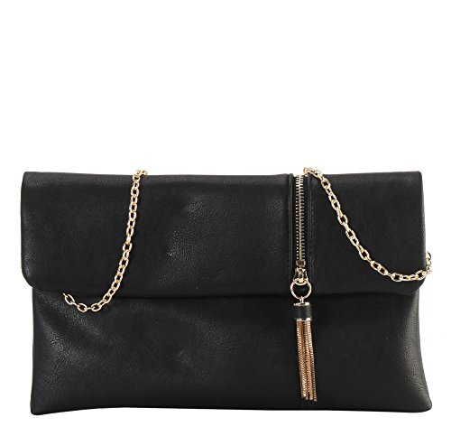 ont Flap with Metal Zipper & Tassels Décor Bifold Clutch Accented with Removable Chain Strap Womens Purse Handbag GS-6309 (Leather Front Flap)