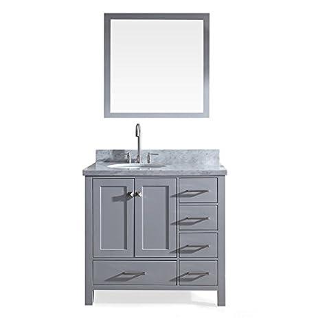 Charming 36u0026quot; Inch Beckford Series Single Sink Bathroom Vanity Set In Grey With  Carrara White Marble