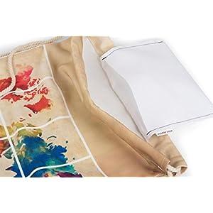 styleBREAKER Bolsa de Deporte con Estampado mapamundi en óptica de Acuarela a Ambos Lados, Mochila, Bolsa, Unisex 02012118, Color:Caqui
