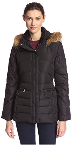 - LARRY LEVINE Women's Short Puffer with Faux Fur Trim, Black, S