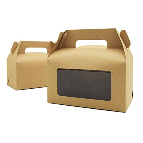 Lothver 10PCS Portable Kraft Paper Wedding Candy Box With window Cake Box Mousse Box Dessert Packaging Box Party Gift Bread Food Bags Brown Cake Favor Boxes