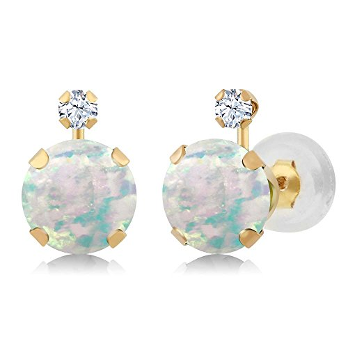 14k Yg Dangle - 1.38 Ct Round Cabouchon White Simulated Opal White Created Sapphire 14K YG Earrings