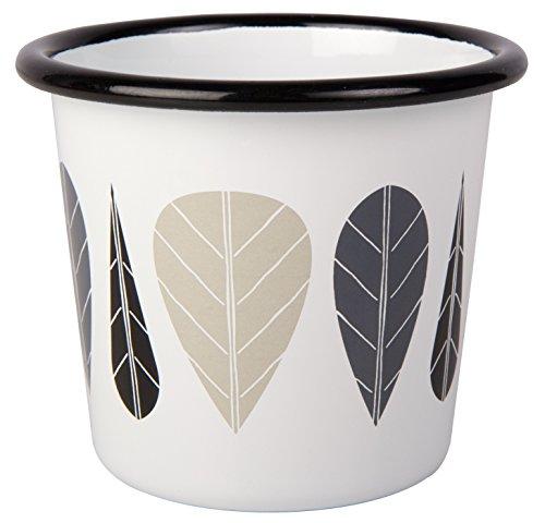 Enamel Jug (Muurla Leaves Series Tumbler, 10-Fluid Ounces, White, Black and Grey)