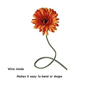 Rae's Garden Artificial Flowers Realistic Fake Flowers Gerbera Daisy Bridal Wedding Bouquet for Home Garden Wedding Party Decorations 10 Pcs (Orange) 4